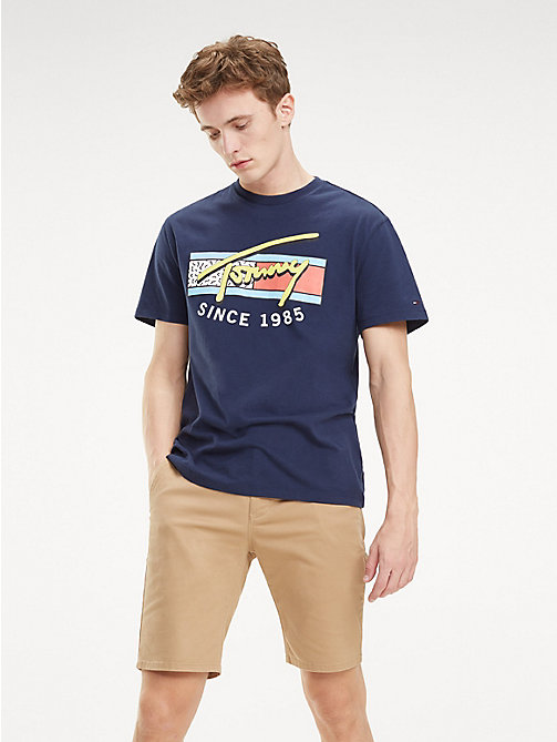 TOMMY JEANS Neon Signature Logo T-Shirt - BLACK IRIS - TOMMY JEANS T-Shirts & Polos - main image