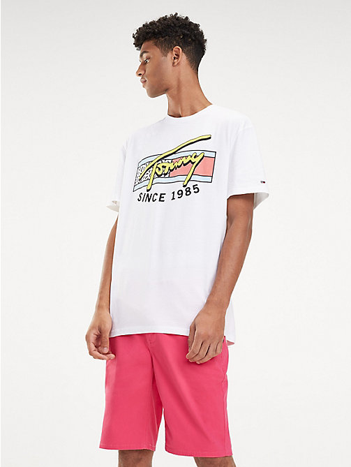 TOMMY JEANS Neon Signature Logo T-Shirt - CLASSIC WHITE - TOMMY JEANS T-Shirts & Polos - main image