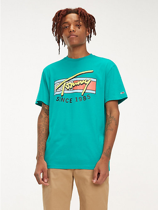 TOMMY JEANS Neon Signature Logo T-Shirt - DYNASTY GREEN - TOMMY JEANS T-Shirts & Polos - main image