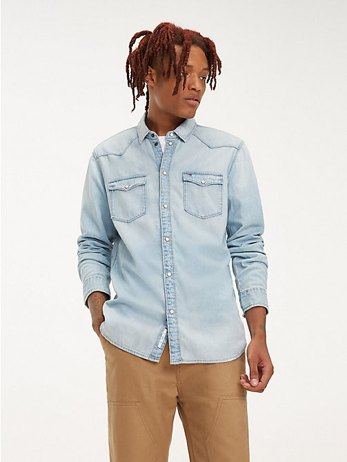 TOMMY JEANS Western-Style Denim Shirt - ARENA LIGHT BLUE RIG - TOMMY JEANS Shirts - main image