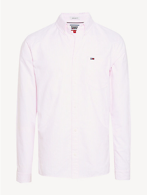 TOMMY JEANS Stripe Organic Cotton Shirt - OXFORD PINK - TOMMY JEANS Shirts - detail image 1