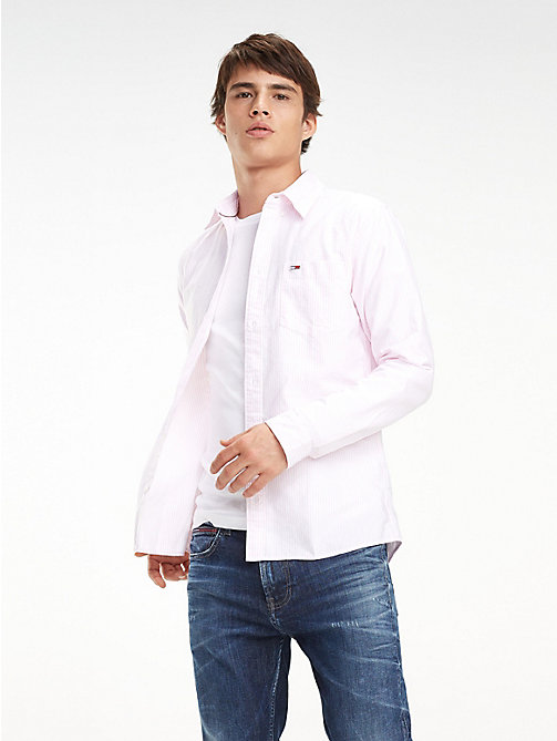 TOMMY JEANS Stripe Organic Cotton Shirt - OXFORD PINK - TOMMY JEANS Shirts - main image