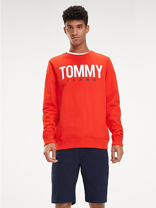 TOMMY JEANS Essential Crew Neck Sweatshirt - FLAME SCARLET - TOMMY JEANS Sweatshirts & Hoodies - main image