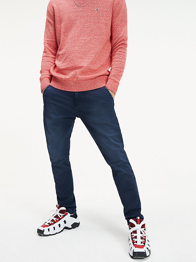 blue scanton slim fit faded chinos for men tommy jeans