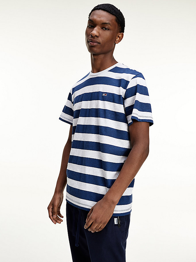 blue heathered stripe organic cotton t-shirt for men tommy jeans