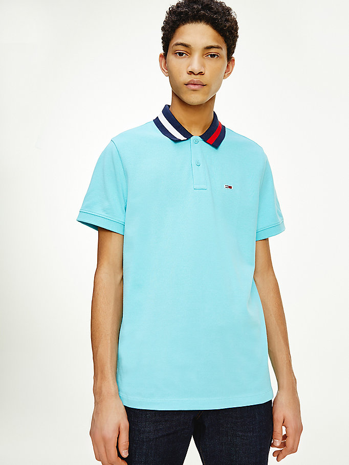 blue tipped collar regular fit polo for men tommy jeans