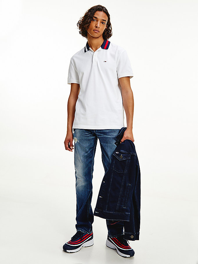 white signature collar organic cotton polo for men tommy jeans