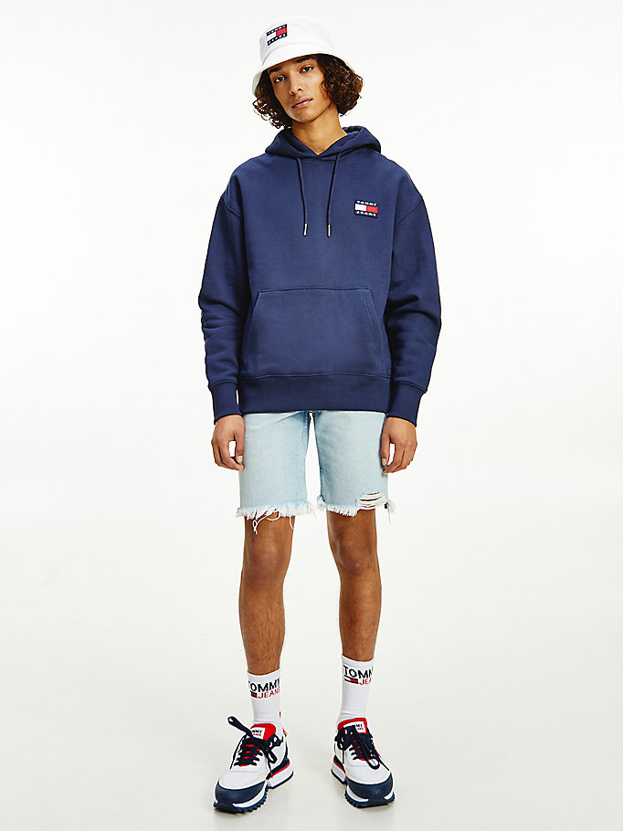 blue tommy badge relaxed hoody for men tommy jeans
