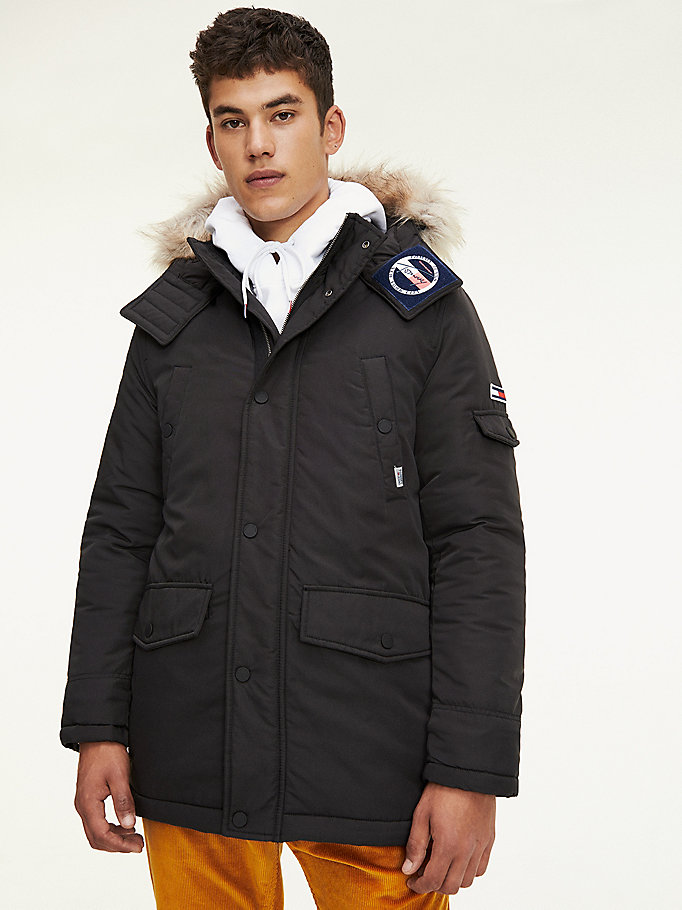 black trimmed hood technical parka for men tommy jeans