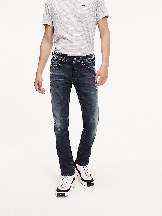 jeans slim fit dark wash denim da men tommy jeans