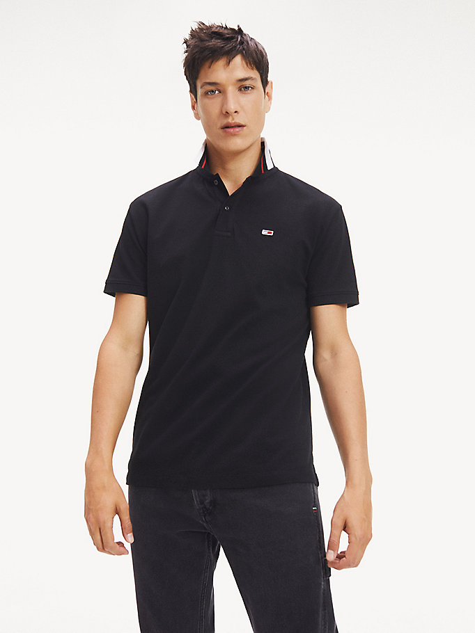 polo classics in cotone biologico stretch nero da men tommy jeans