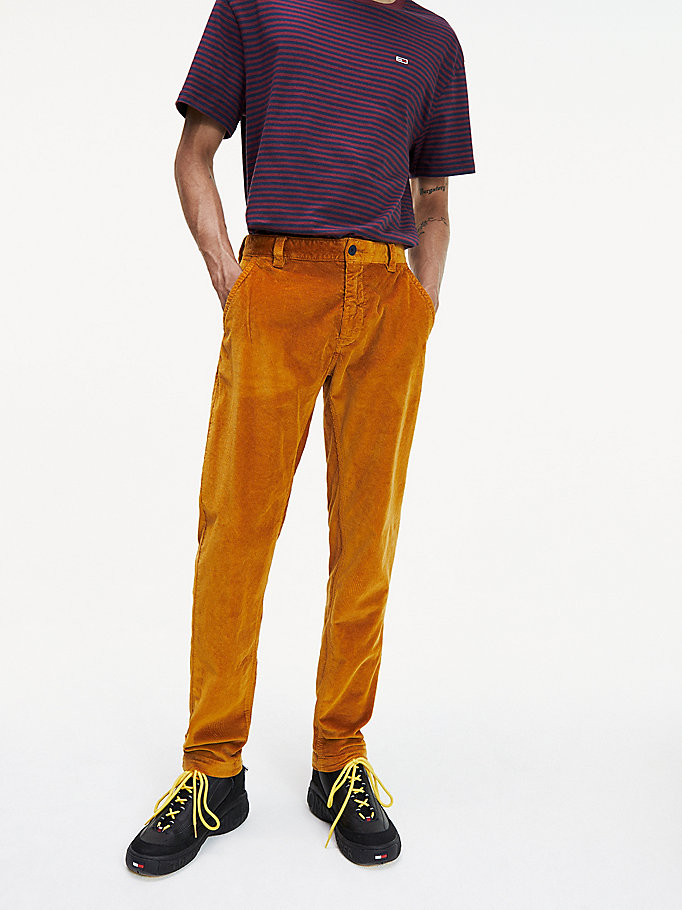 brown tapered fit corduroy chinos for men tommy jeans