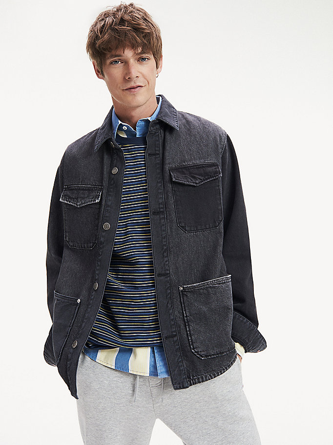 denim pure cotton cargo jacket for men tommy jeans
