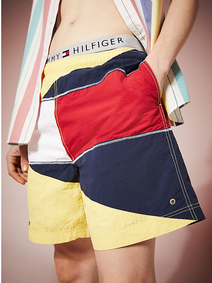 yellow tommy jeans summer heritage swim shorts for men tommy jeans