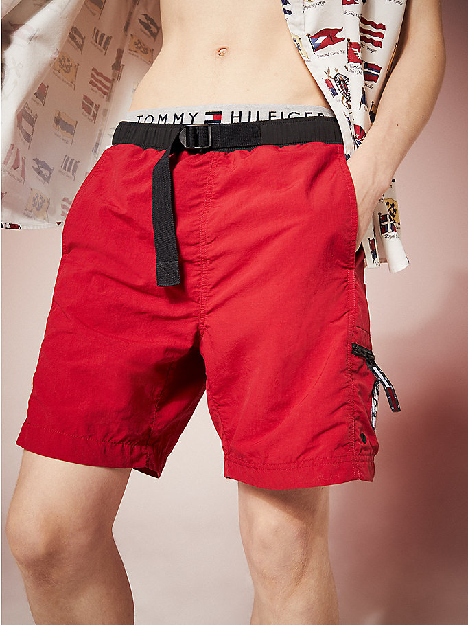 short de bain tommy jeans summer heritage rouge pour men tommy jeans