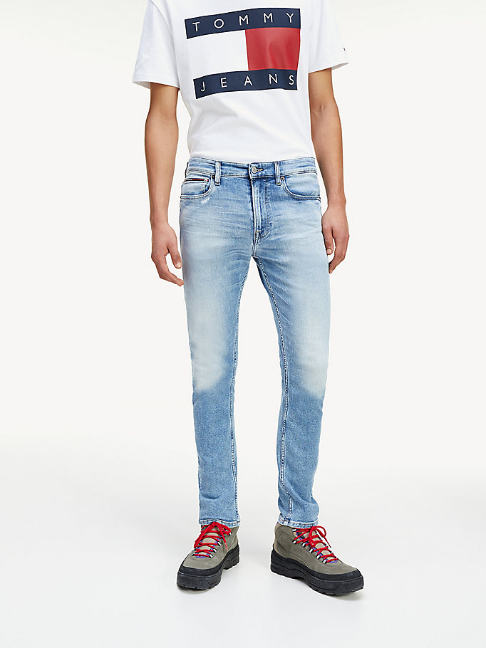 denim skinny fit jeans met fading voor men - tommy jeans