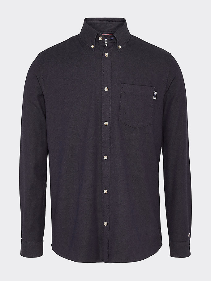 camicia fit comodo in cotone oxford blu da men tommy jeans