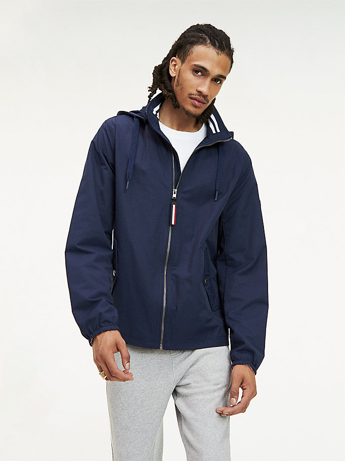 blue essential hooded jacket for men tommy jeans