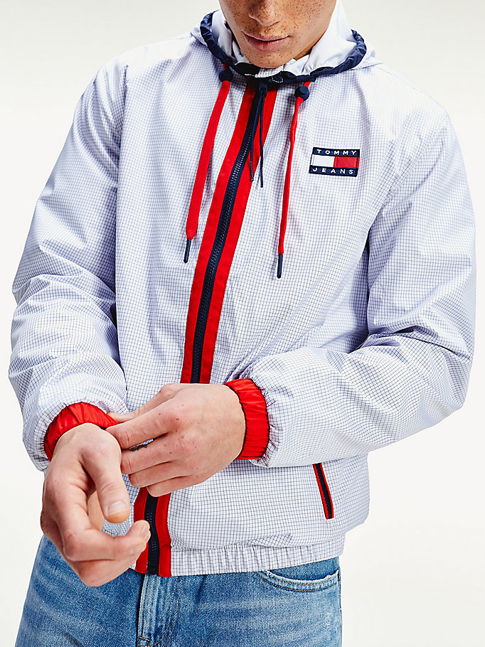 white contrast zip jacket for men tommy jeans