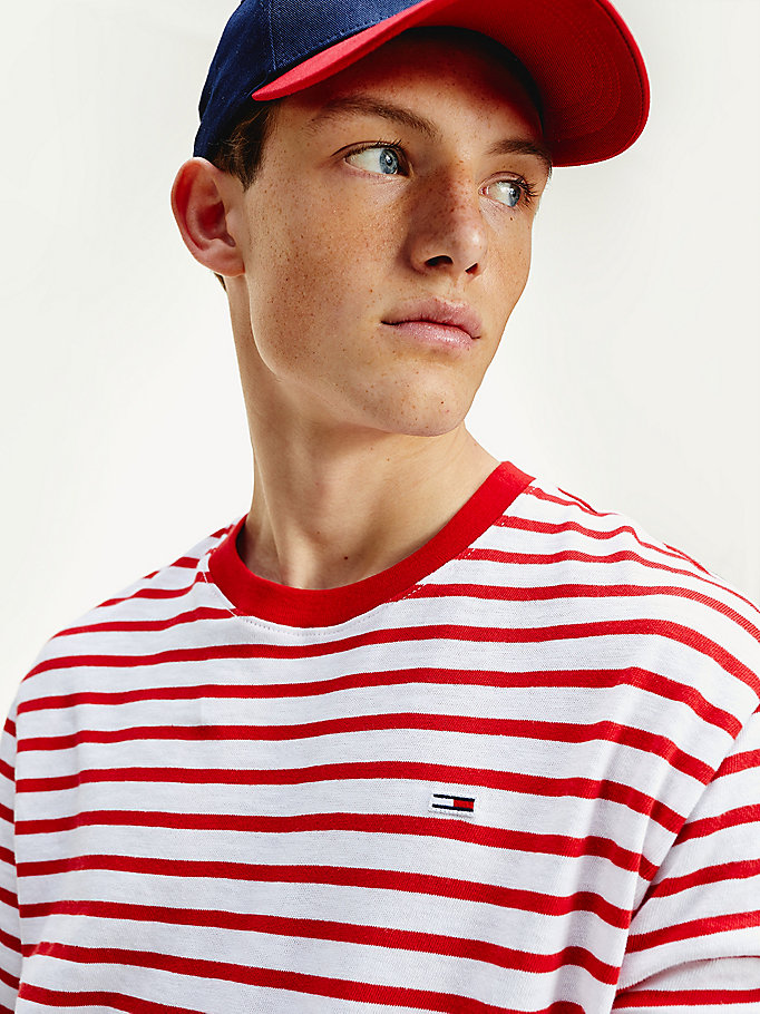 red stripe organic cotton t-shirt for men tommy jeans