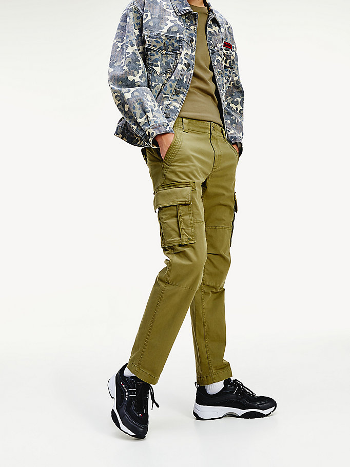 Stretch Cotton Straight Fit Cargo Trousers Green Tommy Hilfiger