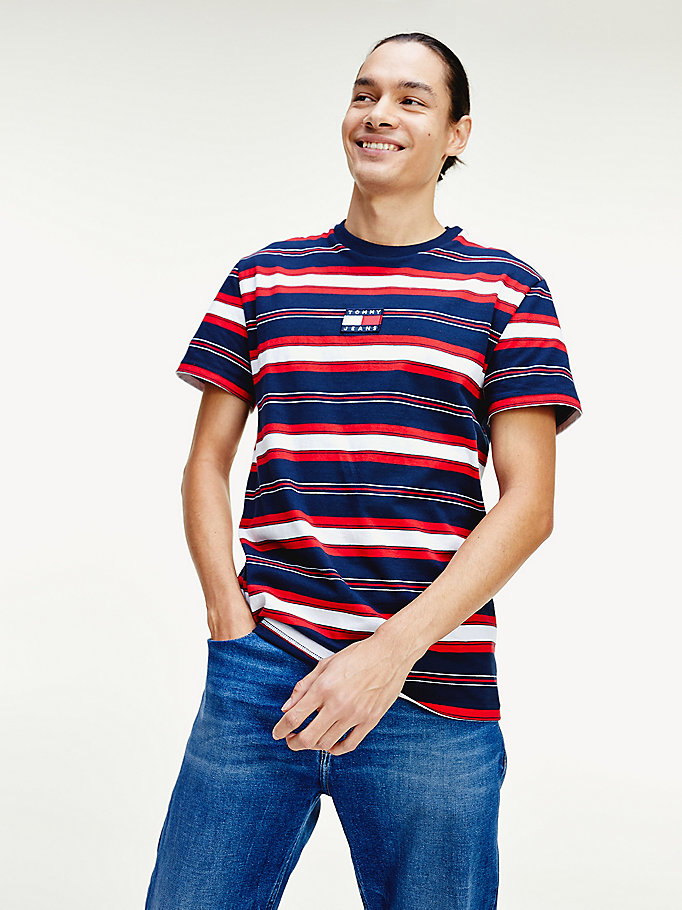 blue pure cotton stripe logo t-shirt for men tommy jeans