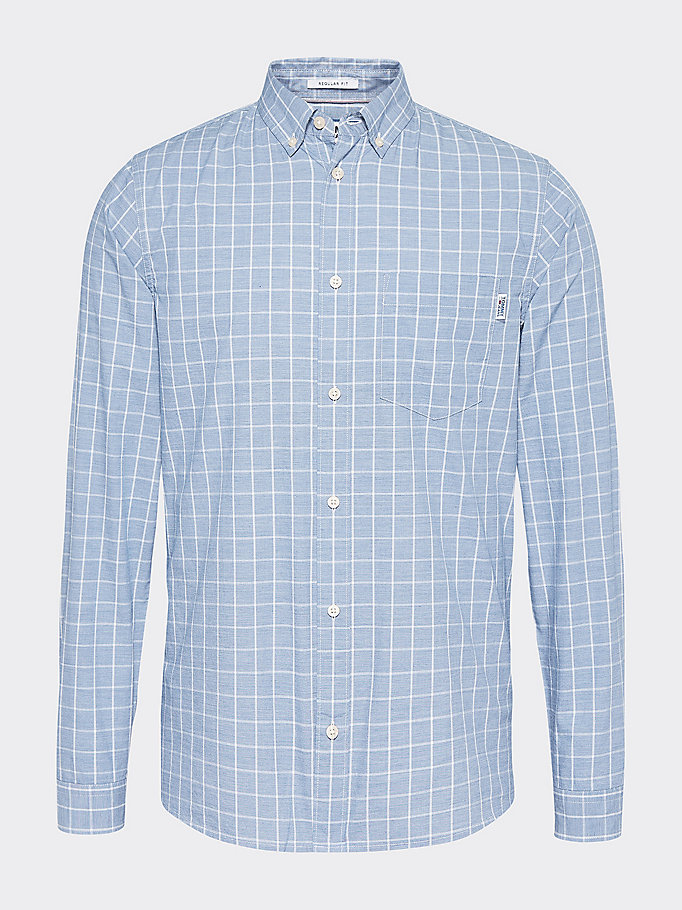 blue flag patch windowpane check shirt for men tommy jeans