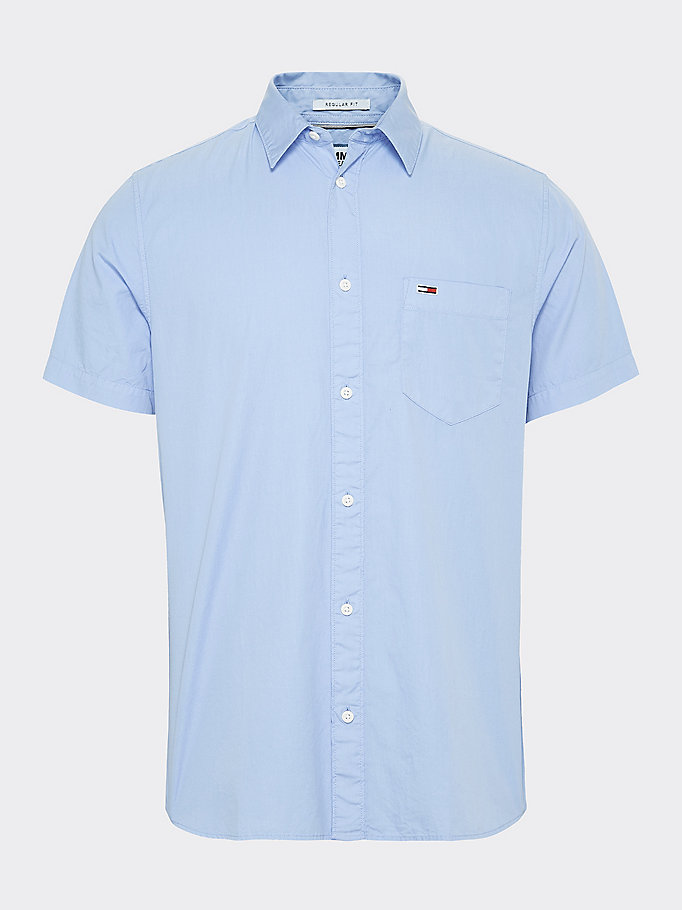 blue short sleeve flag patch pocket shirt for men tommy jeans