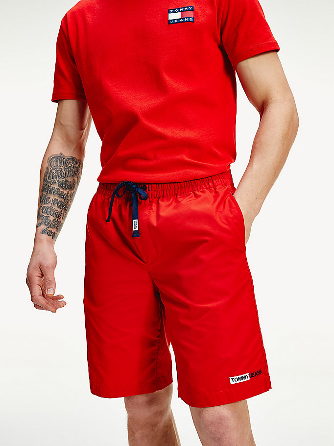 red relaxed fit basketball shorts for men tommy jeans