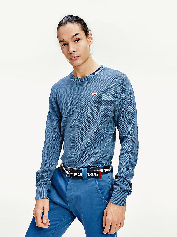blue pure cotton crew neck jumper for men tommy jeans