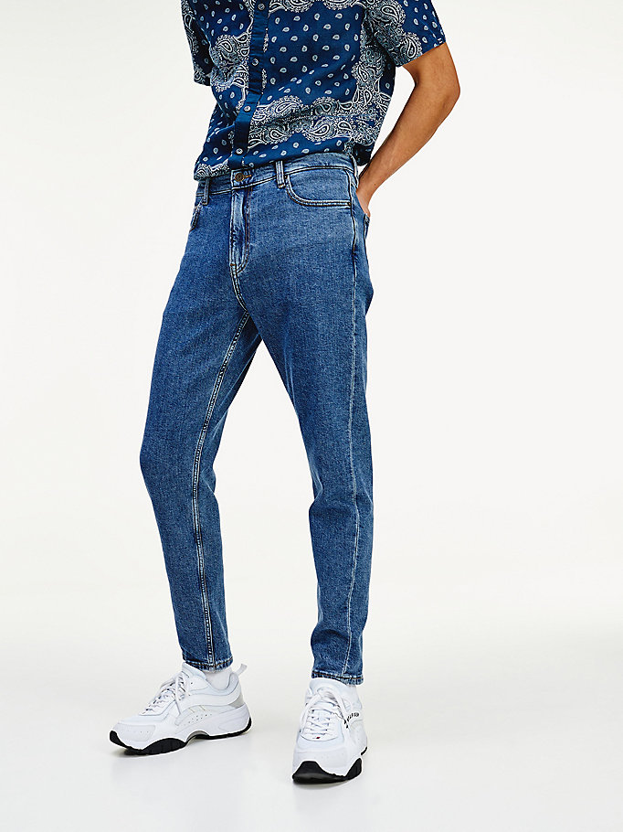 denim dad fit stone wash straight jeans for men tommy jeans