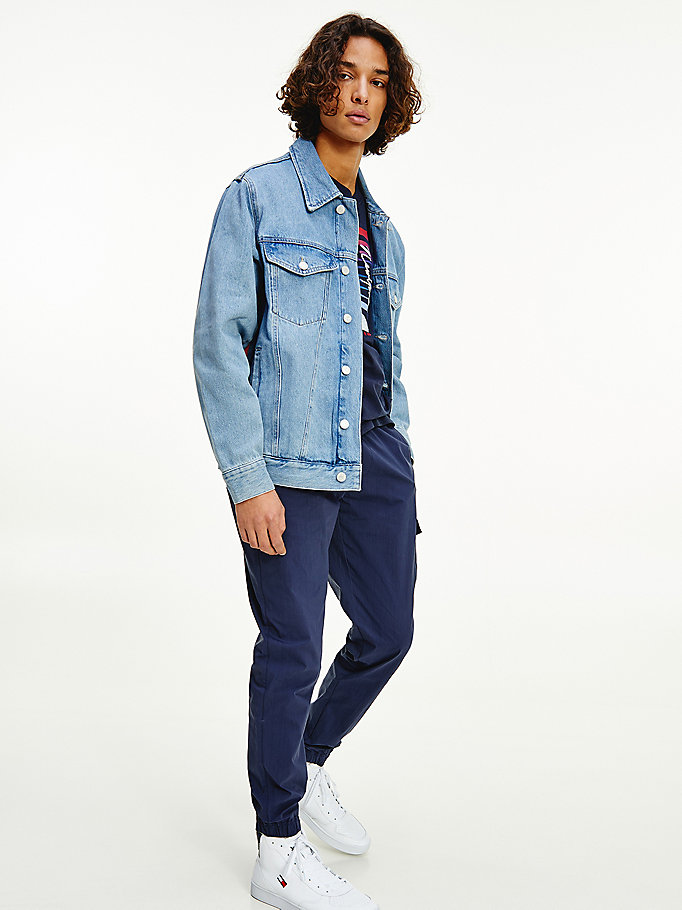 denim flag rigid denim oversized trucker jacket for men tommy jeans