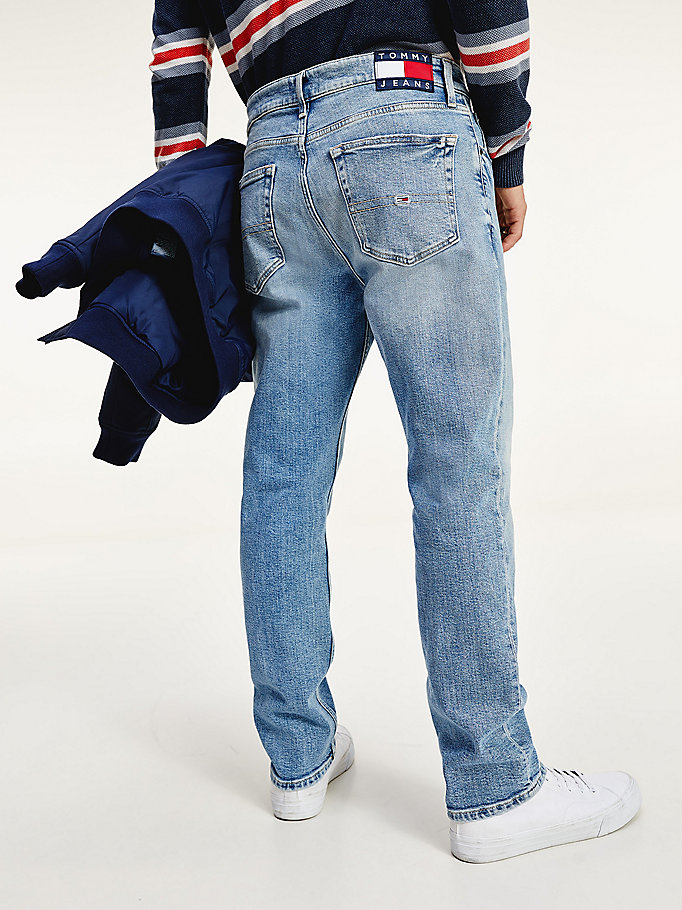 denim relaxed straight fit faded jeans for men tommy jeans