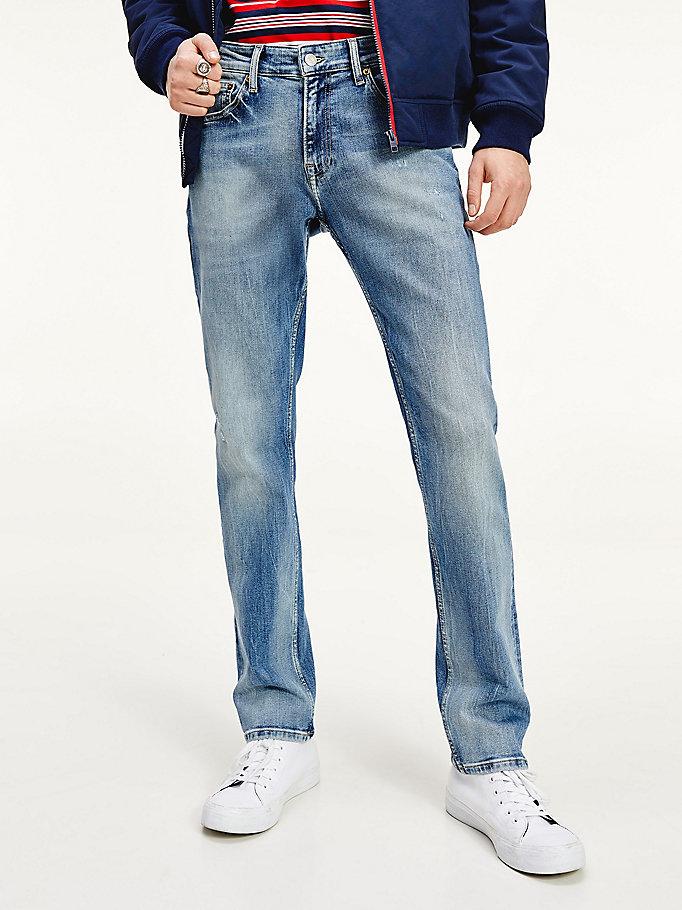 denim scanton slim fit distressed stretch jeans for men tommy jeans