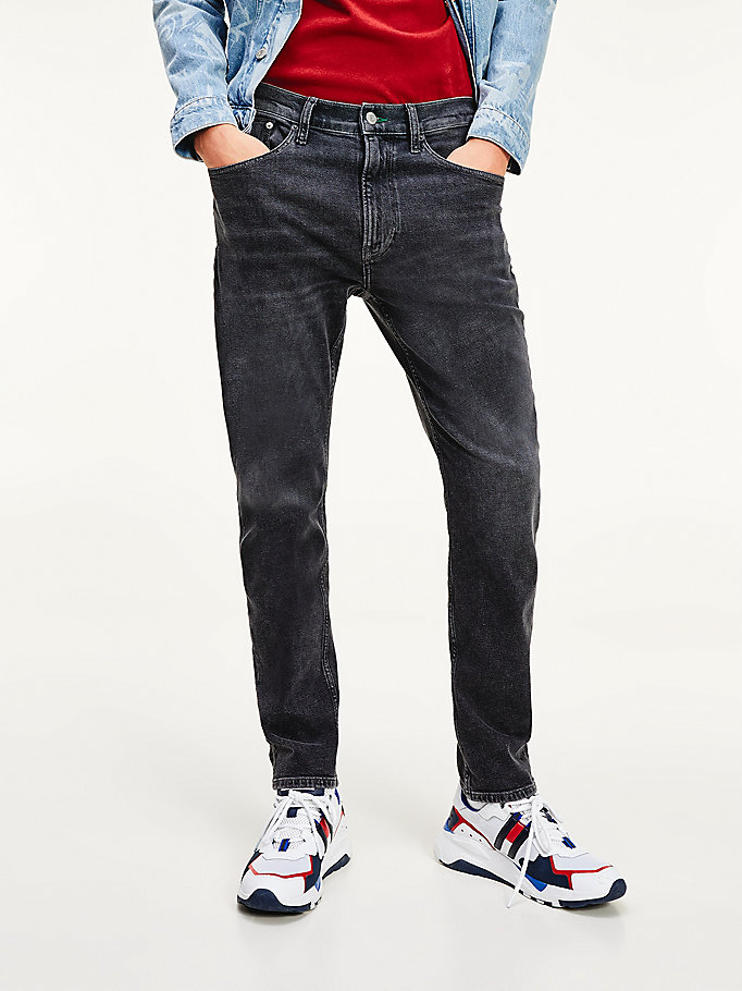denim relaxed tapered recycled cotton black jeans for men tommy jeans