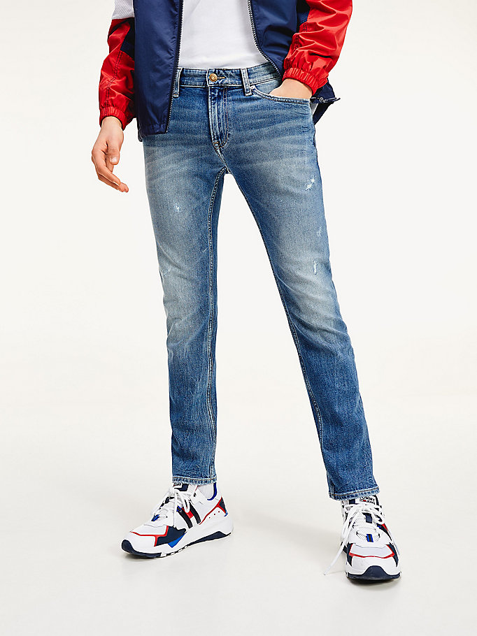 denim scanton slim fit jeans met faded vlag voor heren - tommy jeans
