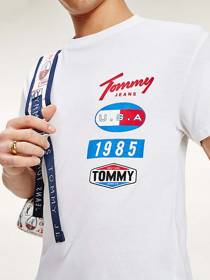 white logo patches organic cotton t-shirt for men tommy jeans