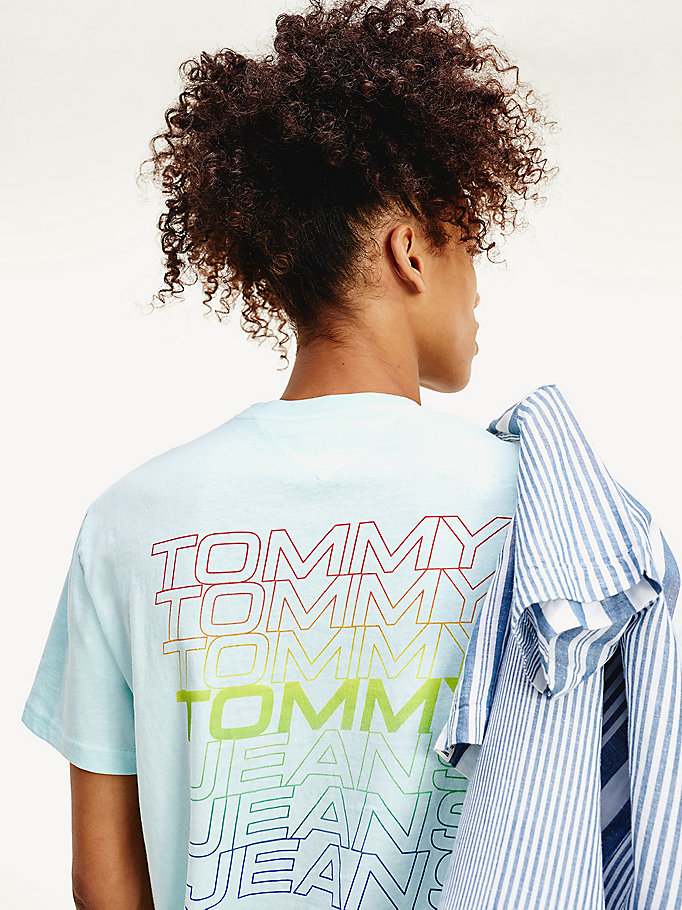 blue pigment dyed logo t-shirt for men tommy jeans