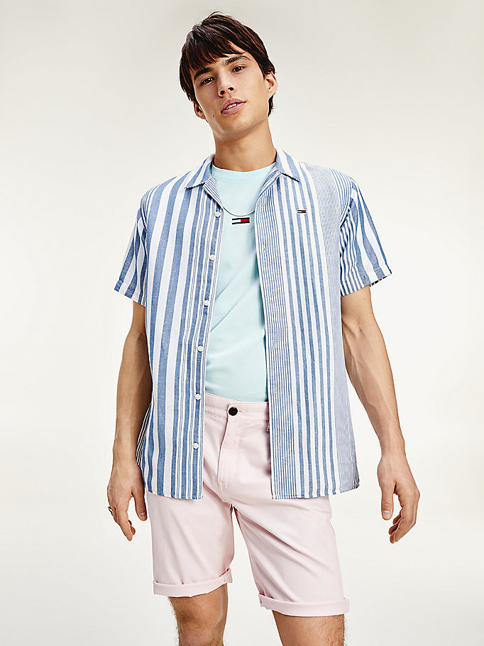 blue stripe regular fit short sleeve shirt for men tommy jeans