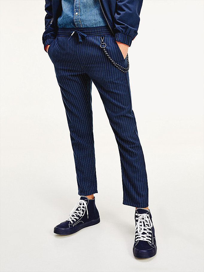 blue scanton pinstripe slim fit joggers for men tommy jeans