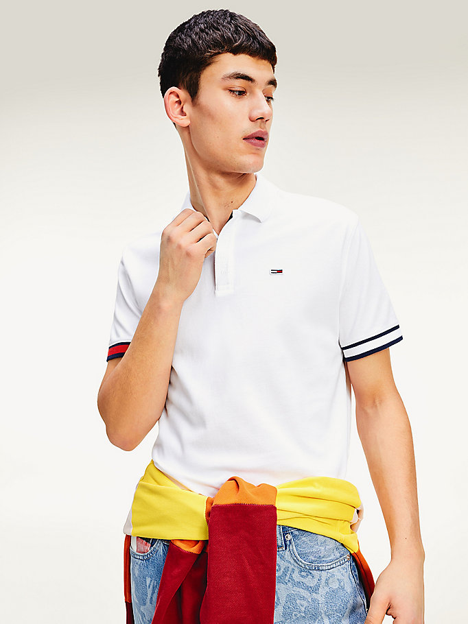 white contrast cuff regular fit polo for men tommy jeans