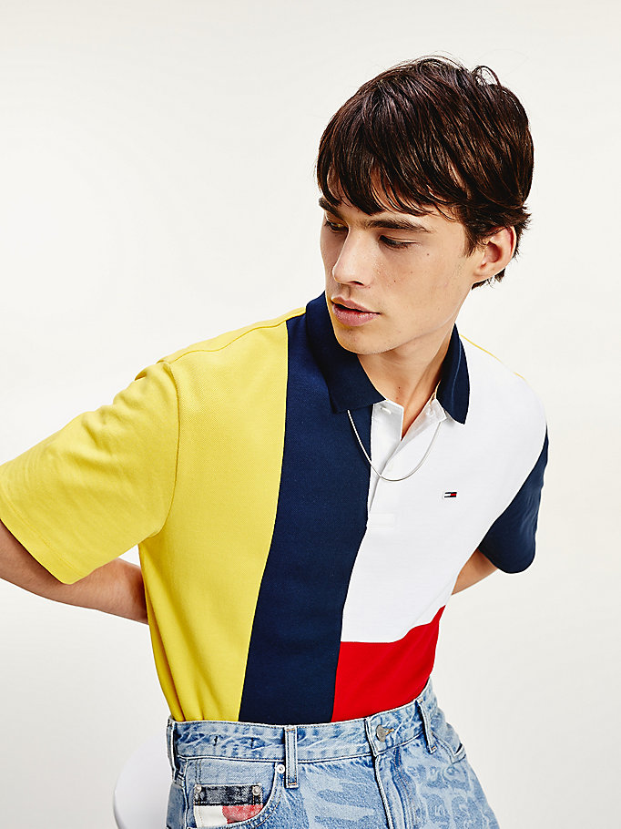 yellow colour-blocked organic cotton regular fit polo for men tommy jeans