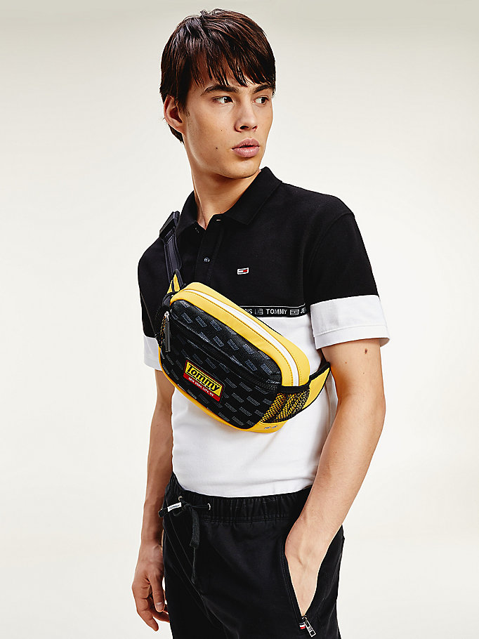 black colour-blocked logo tape regular fit polo for men tommy jeans