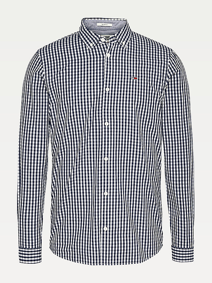 blue gingham check cotton slim fit shirt for men tommy jeans