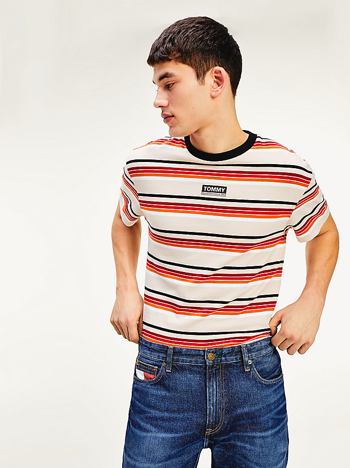 beige multicolour stripe organic cotton t-shirt for men tommy jeans