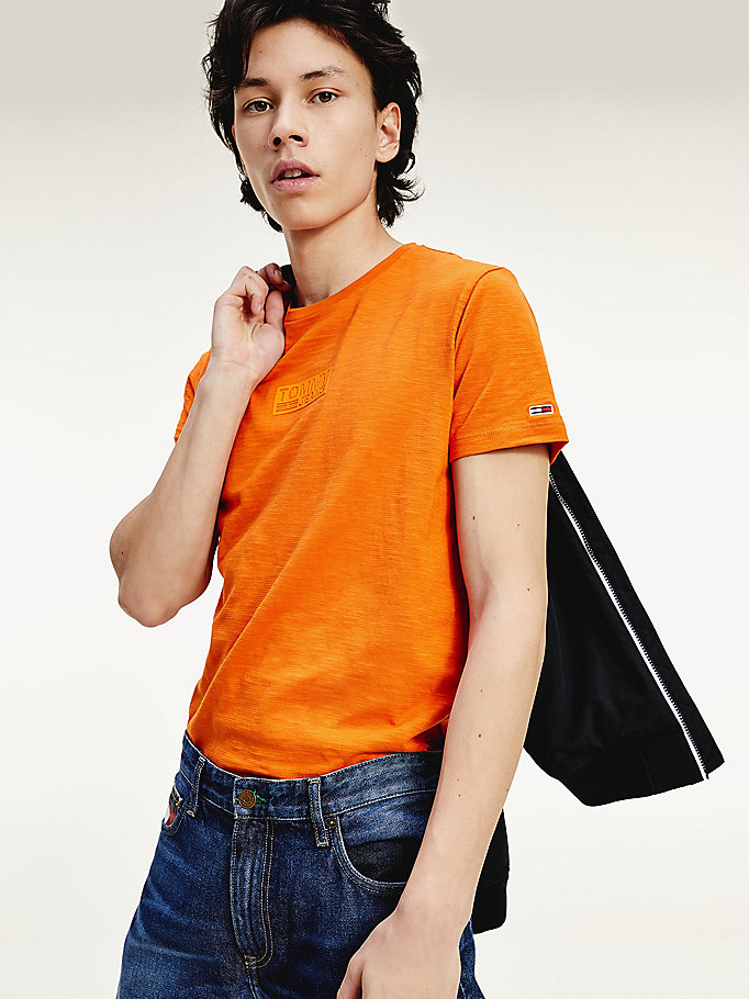 orange slim fit organic cotton t-shirt for men tommy jeans