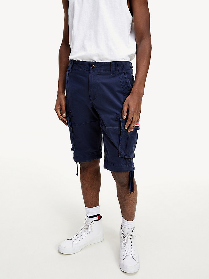 blue tjm solid cargo short for men tommy jeans