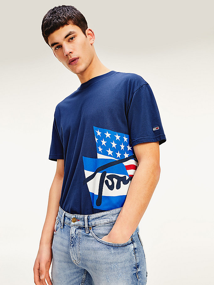 blue flag logo organic cotton t-shirt for men tommy jeans