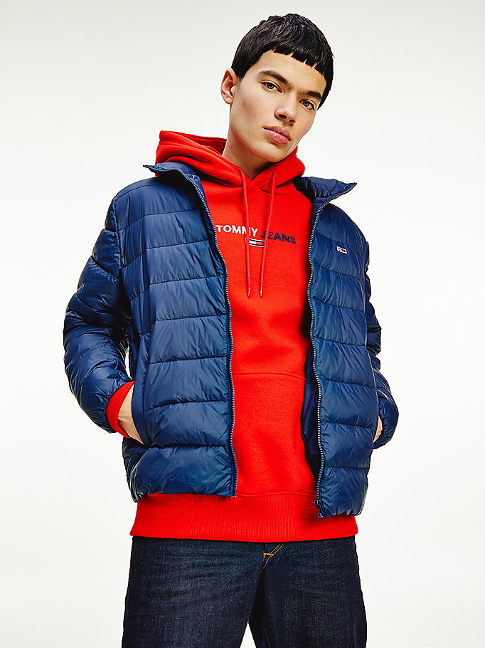 blue packable lightweight down filled quilted jacket for men tommy jeans
