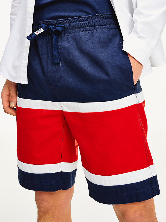 blue colour-blocked basketball shorts for men tommy jeans